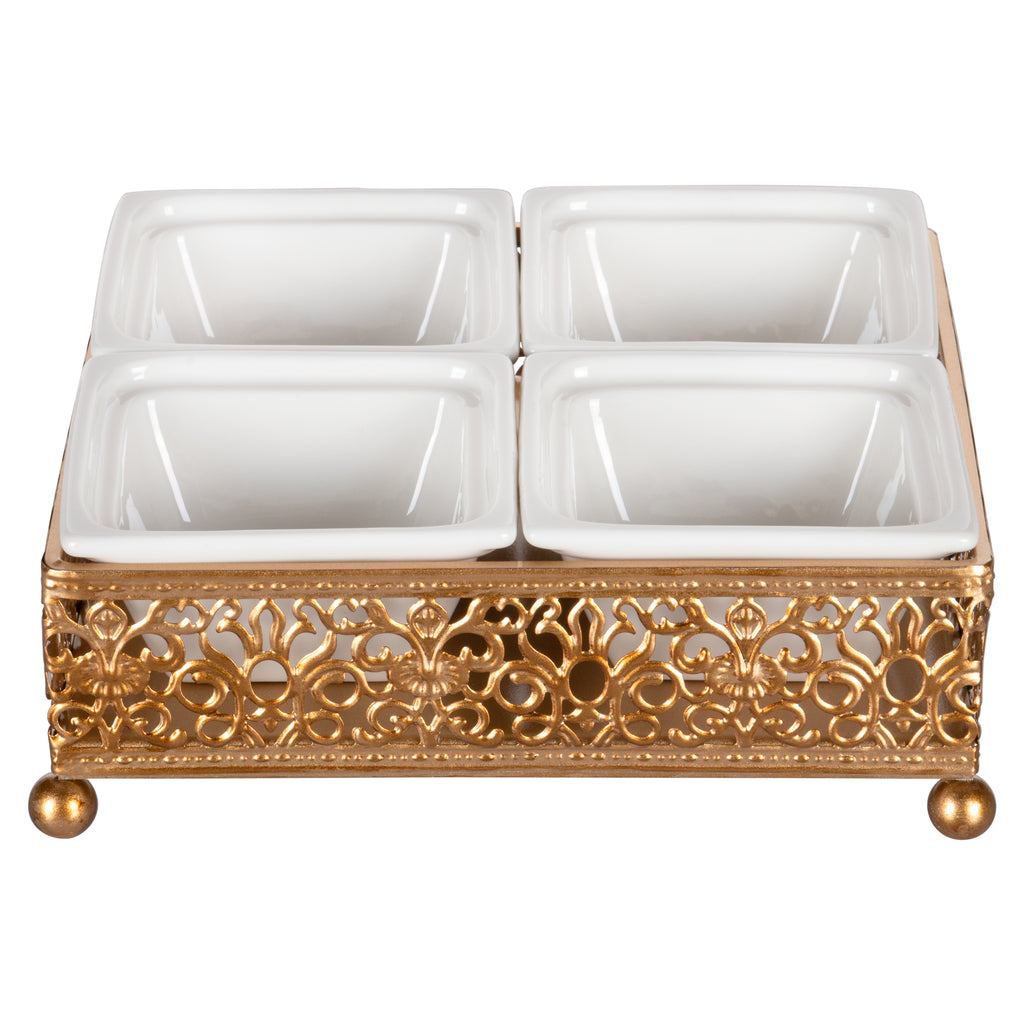 Amalfi Decor Gold Square Serving Tray with Ceramic Dishes