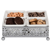 Amalfi Decor Silver Square Serving Tray with Ceramic Dishes