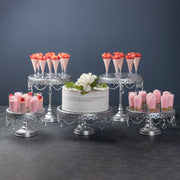 5-Piece Glass Top Crystal Cake Stand Set (Silver)