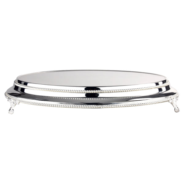 16 Inch Round Shiny Metallic Wedding Cake Stand Plateau (Silver Plated)