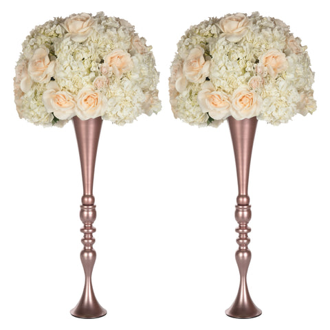 "Amalfi Decor 2-Piece Rose Gold Metal Trumpet Vase Set 27""H"