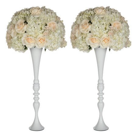 "Amalfi Decor 2-Piece White Metal Trumpet Vase Set 27""H"