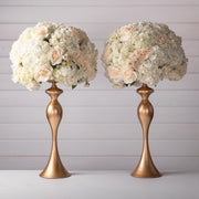 Amalfi Decor Gold 2-Piece Metal Flower Ball Vase Set