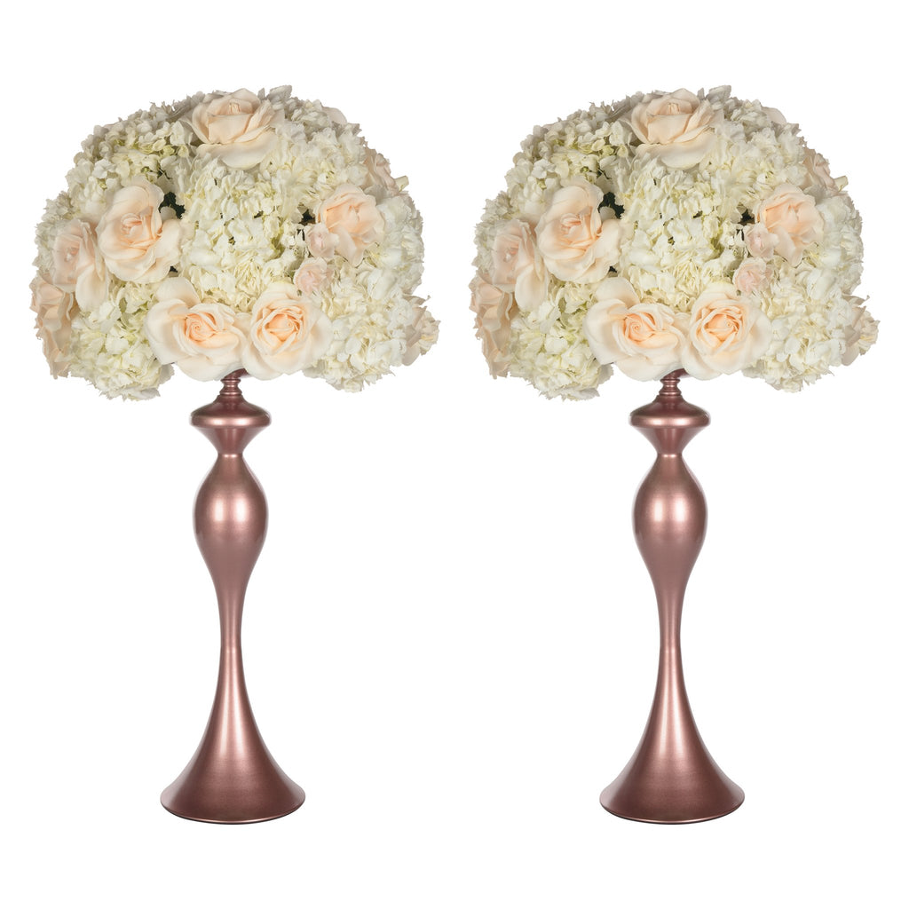 Amalfi Decor Rose Gold 2-Piece Metal Flower Ball Vase Set