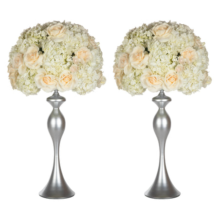 Amalfi Decor Silver 2-Piece Metal Flower Ball Vase Set