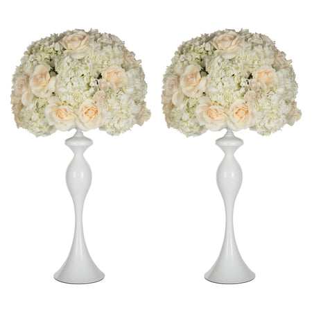 Amalfi Decor White 2-Piece Metal Flower Ball Vase Set