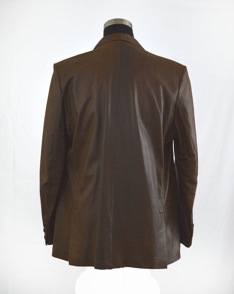 Brown Lambskin Fitted Blazer