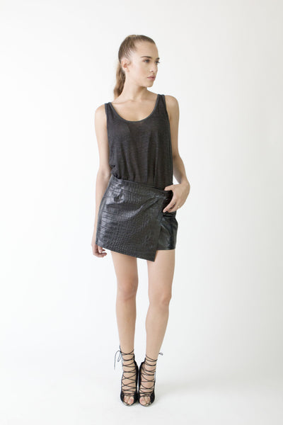 Crocodile Wrap Mini Skirt