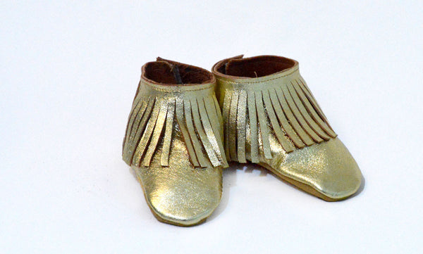 Gold Fringe Booties