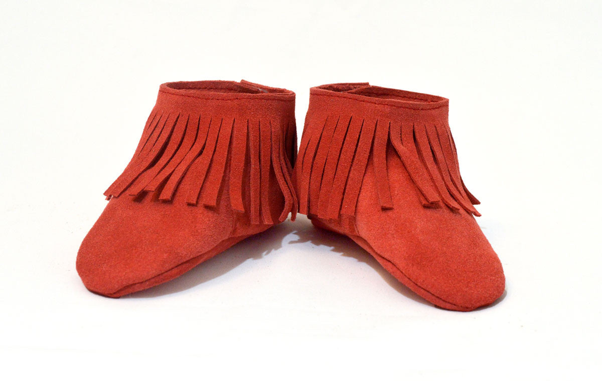 Red Fringe Booties