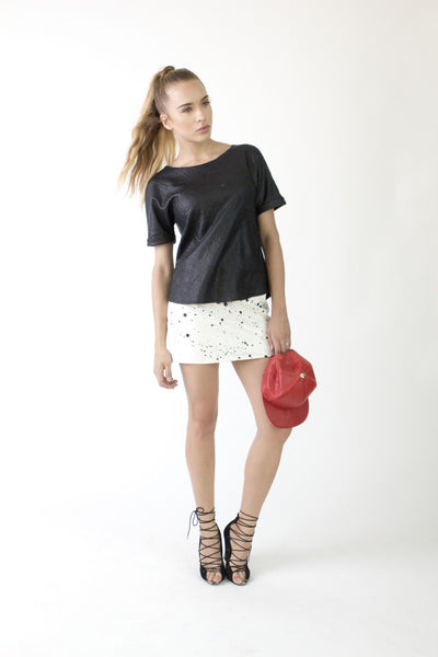 White Splatter Mini Skirt