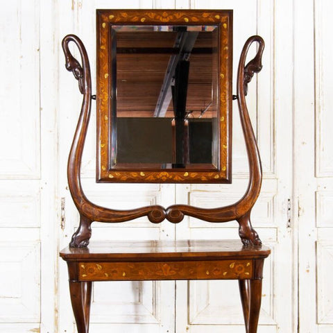 Antique Italian Neoclassical Dressing Table and Mirror