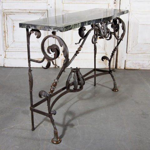 Bronze, Iron & Marble Console Table