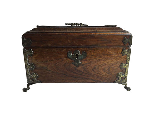 Antique English Rosewood Tea Caddy
