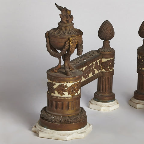 Marble and Bronze French Andirons