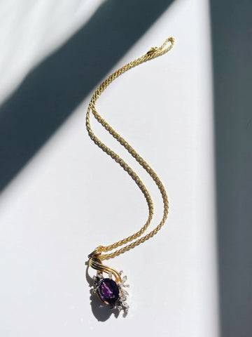 Amethyst and Diamonds Pendant Necklace