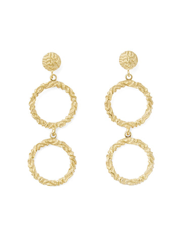 Annah Silver / Gold Double Hoop Earrings
