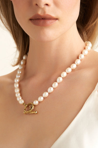 Bibiana Pearl Necklace - Gold