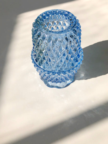 Crystal Candle Lamp 1960s Vintage Blue