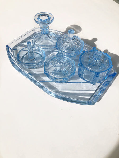 Crystal Vanity Set Vintage Art Deco Pale Blue Love and Object
