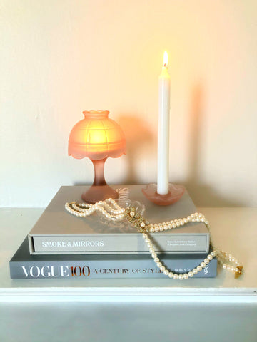 Blush Art Deco Candle Lamp and Candlestick Set