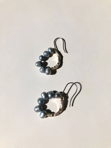 Melos Silver and Baroque Pearl Earrings - SOLD OUT