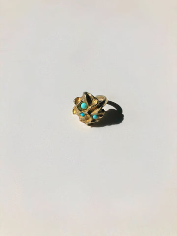 Alessandra Turquoise and Gold Cocktail Ring - Only One Available