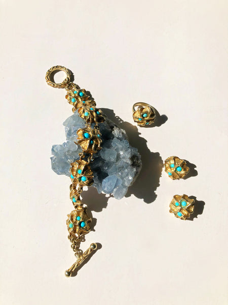 Aletta Turquoise and Gold Bracelet - Only One Available