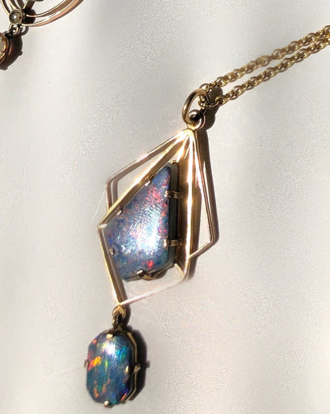 Blue Opal and Solid Gold Art Deco Pendant Necklace (sold)
