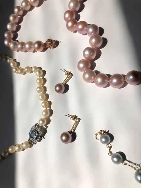 Pink Pearl and Diamond Necklace