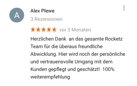 Google Bewertung Rocketz Soundservice