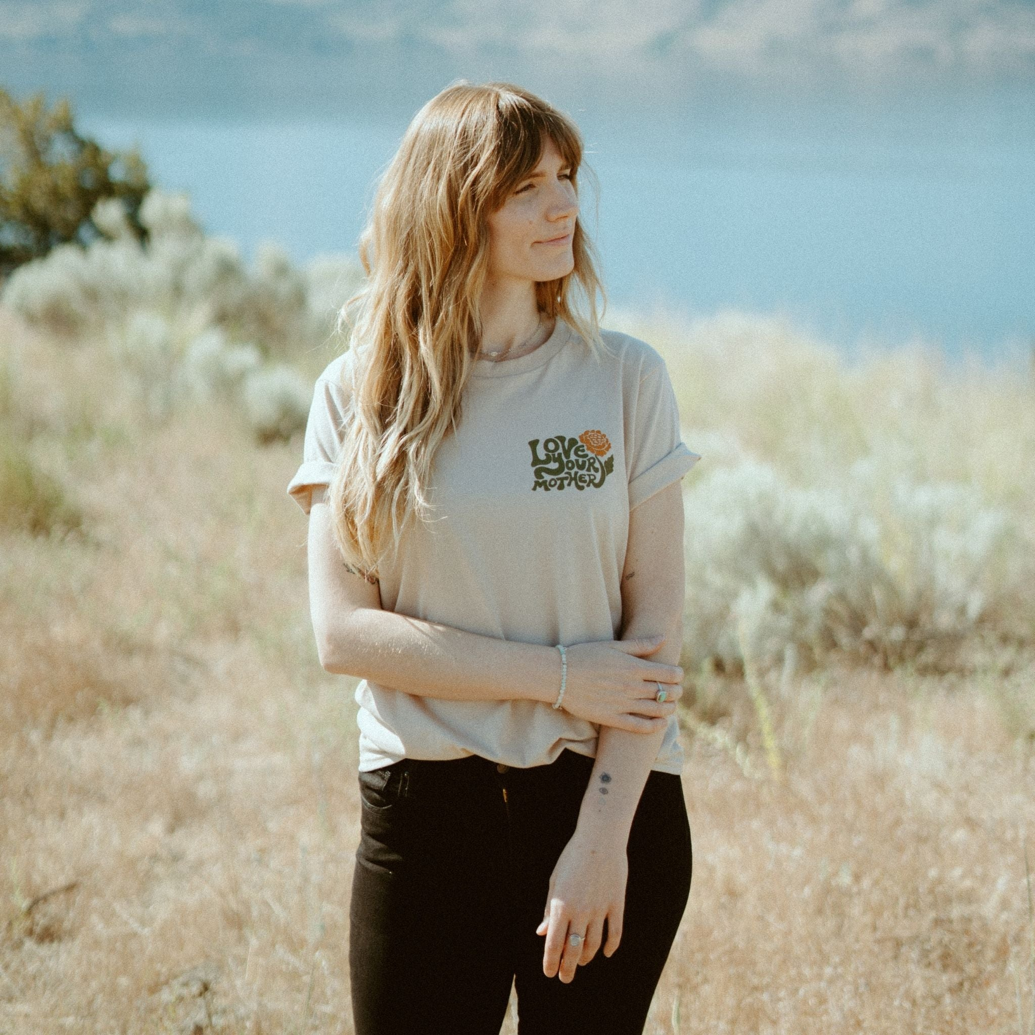 Be Kind Vibes Love Your Mother tee and cropped top ethically made in the USA from 100% organic cotton