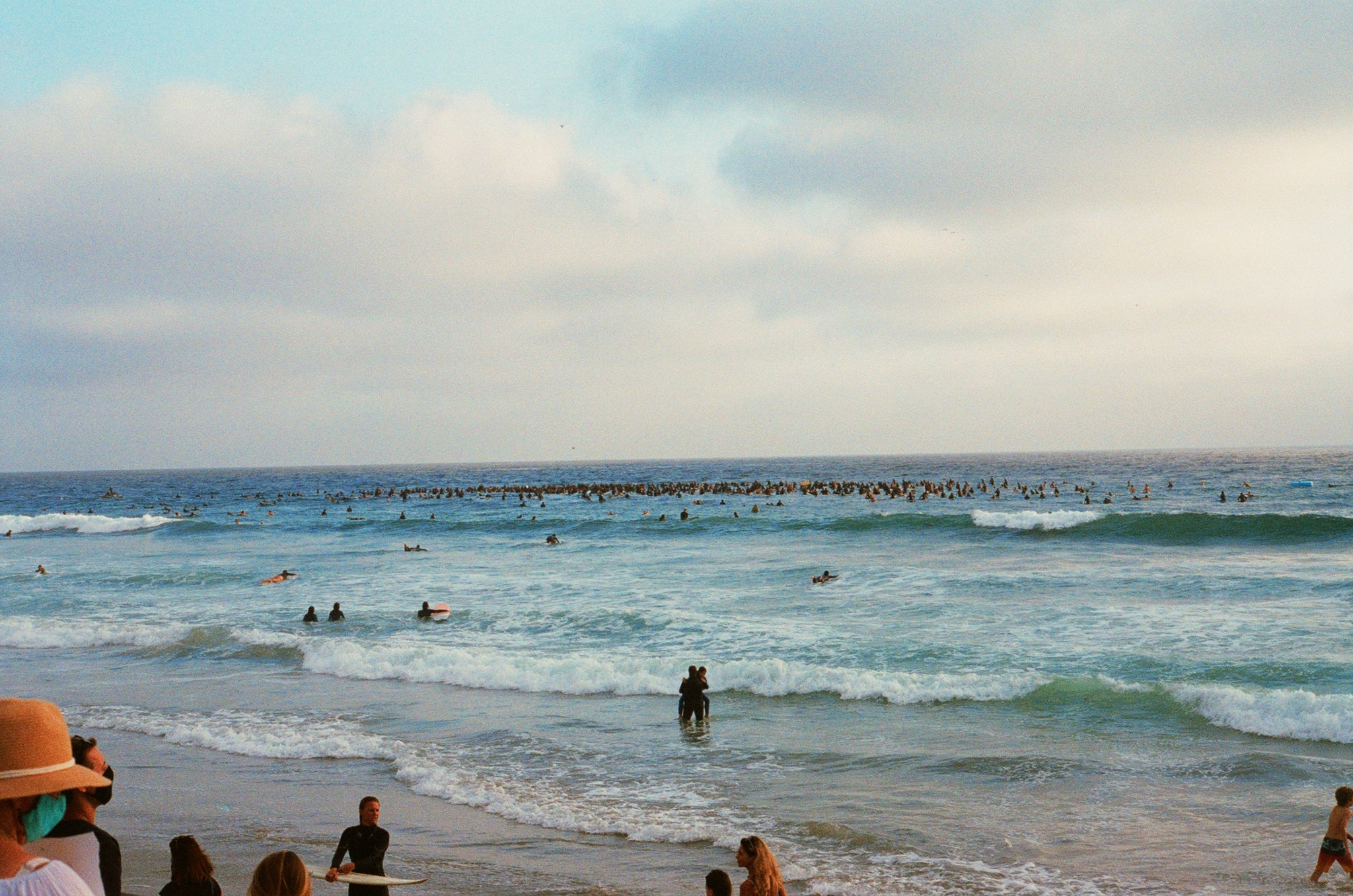 paddle for peace and paddle for unity paddle out in San Diego, California shot on 35mm film