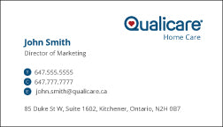 Qualicare - Landscape Business Cards  - Personalize - Printphics Inc.