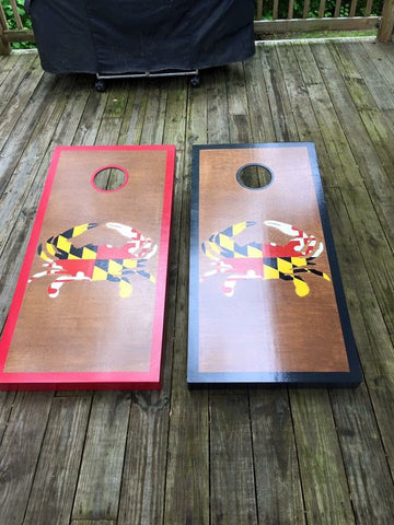 Crab with Flag Cornhole Set