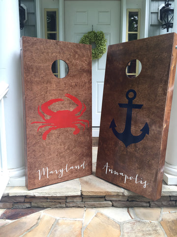 Crab and Anchor Corn hole set *Sale and Holiday Ordering*