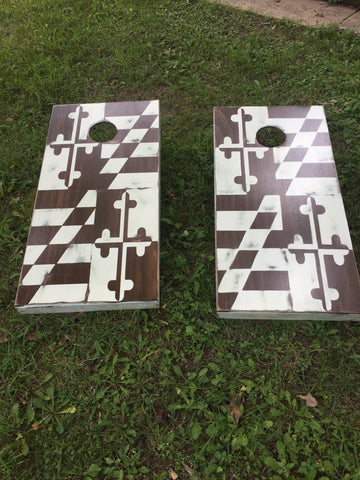 Vintage Maryland Flag Corn Hole Set