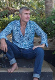 Turquoise mens shirt.
