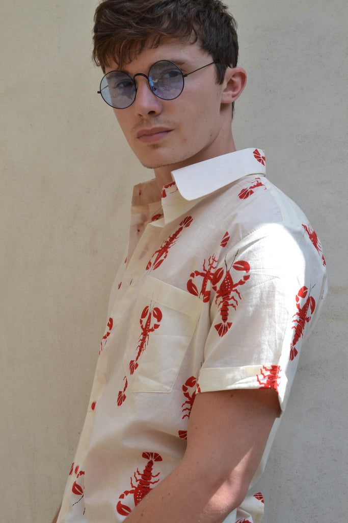 Cream Lobster Short Sleeve Shirt
