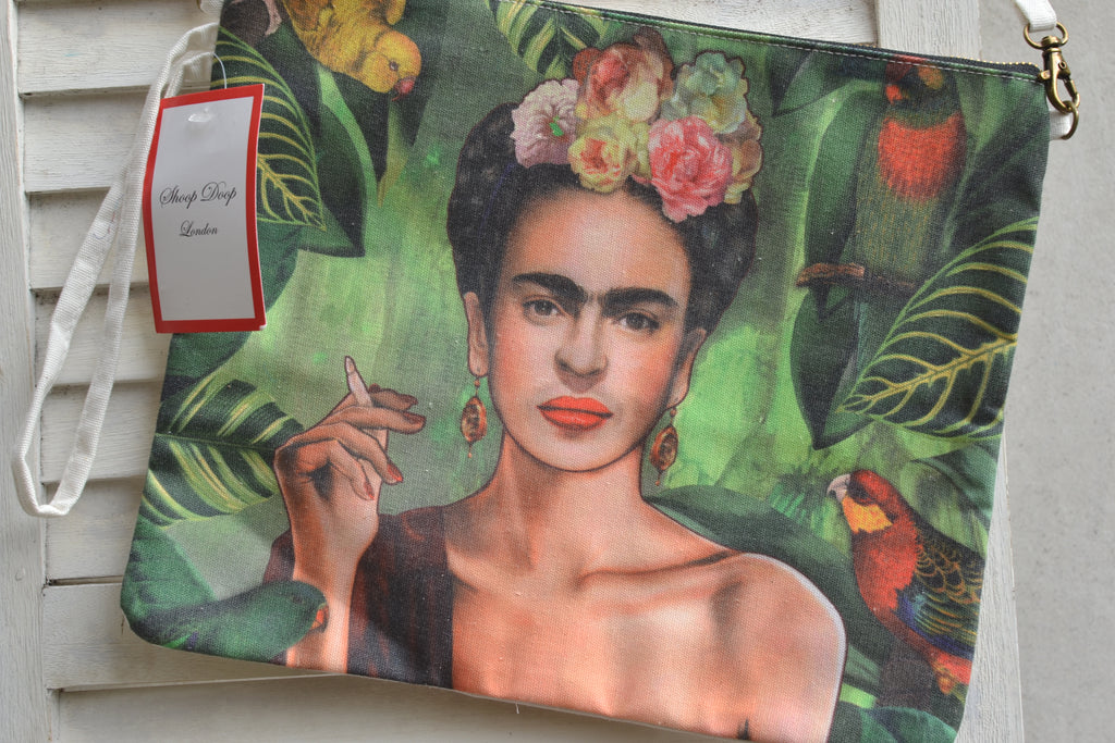 Frida Kahlo Smoking Wearing Flowers Canvas Bag
