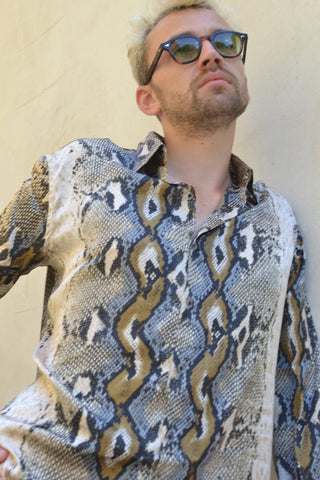 Cream & Charcoal Vintage men's Shirt.