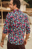 Black long sleeve multi coloured flamingos.