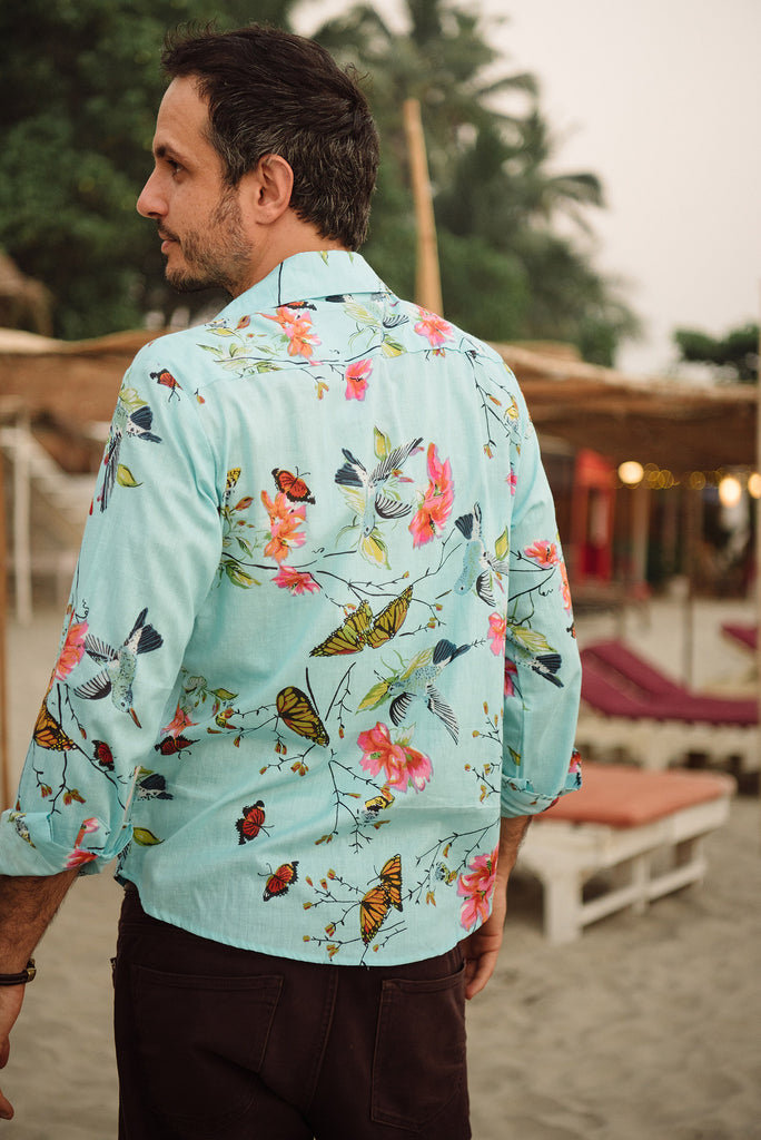 Blue hummingbird men's shirt.