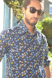Floral, navy long sleeve shirt