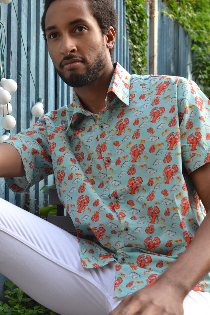 Turquoise lobster short sleeve shirt