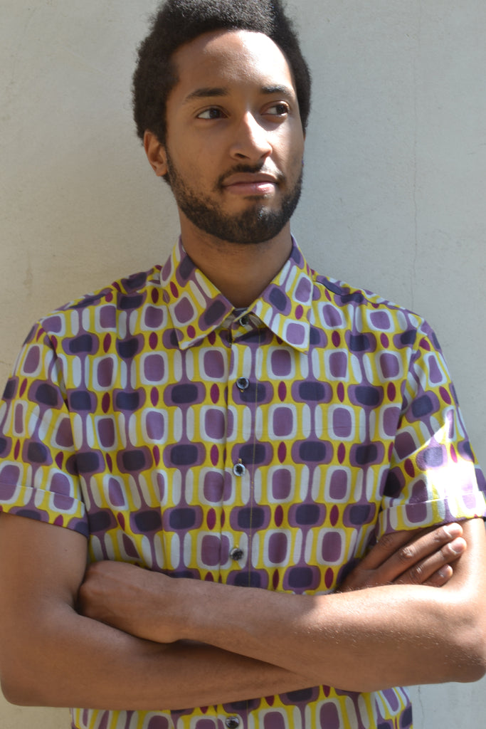 Retro 60's yellow & purple shirt.