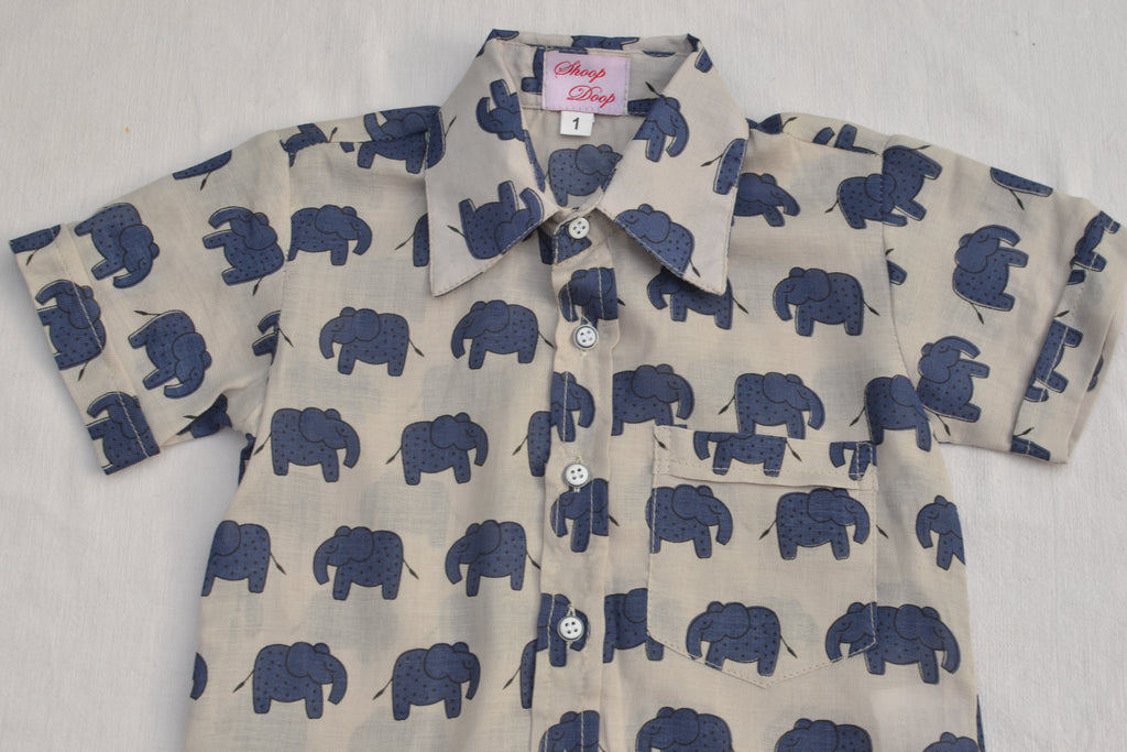 Blue elephant boys shirt.