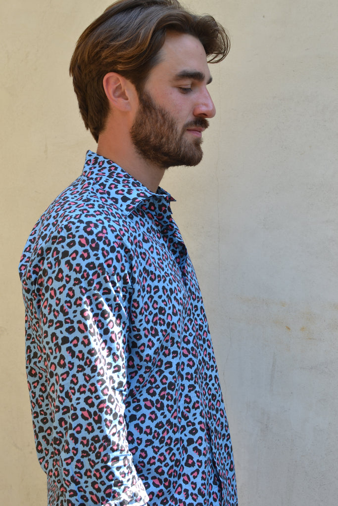 Blue Leopard Long Sleeve Shirt