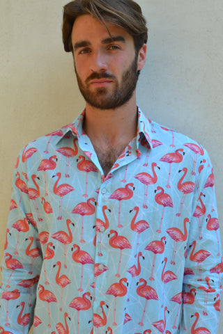 Pink & White Flamingo Long Sleeve Shirt