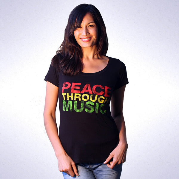 Women's Peace Through Music Scoop T-Shirt